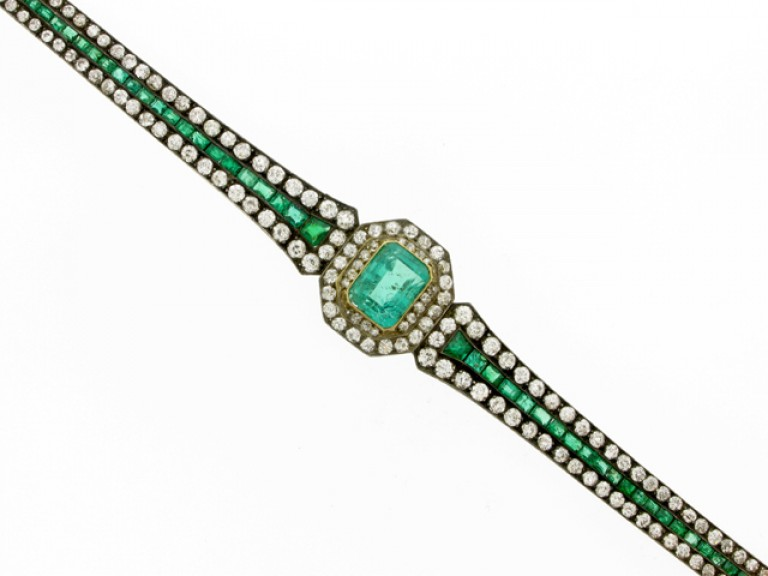 front view Antique emerald and diamond bracelet, circa 1880.