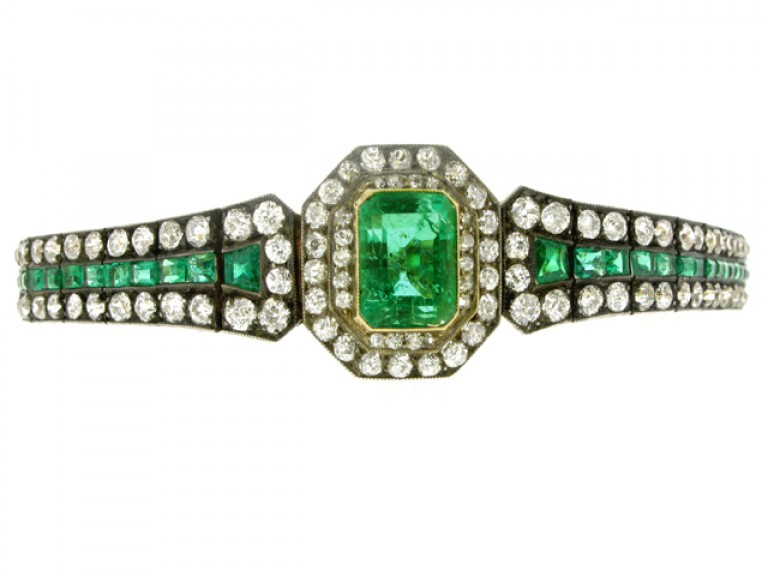 side view Antique emerald and diamond bracelet, circa 1880.