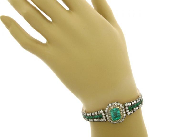 hand view Antique emerald and diamond bracelet, circa 1880.