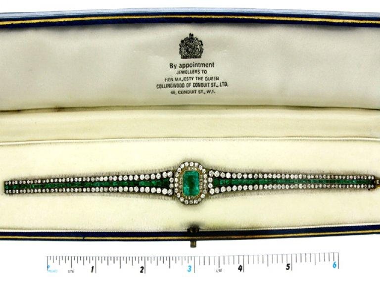 boxed view Antique emerald and diamond bracelet, circa 1880.