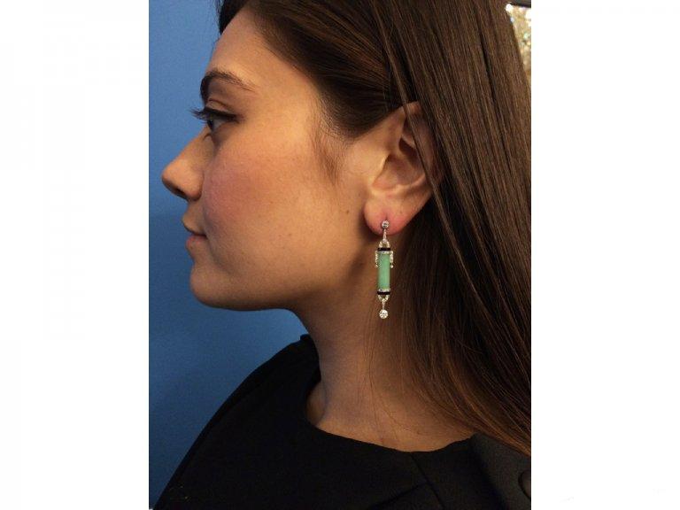 Art Deco diamond onyx jade earrings berganza hatton garden