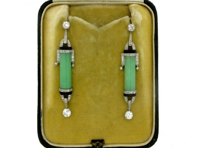 side view Art Deco diamond onyx jade earrings berganza hatton garden