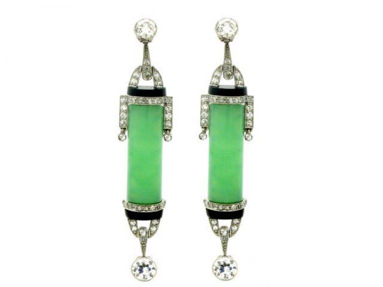 front viewArt Deco diamond onyx jade earrings berganza hatton garden