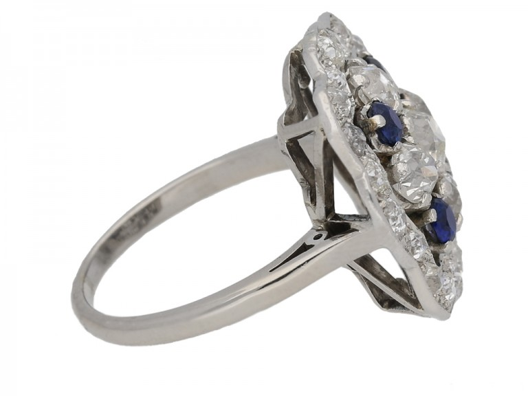 side veiw Sapphire and diamond cluster ring, circa 1935. berganza hatton garden
