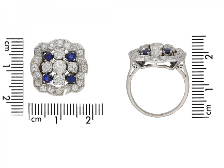 size view Sapphire and diamond cluster ring, circa 1935. berganza hatton garden