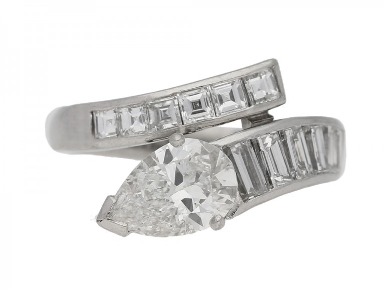 Drop, baguette and square cut diamond ring, circa 1960.