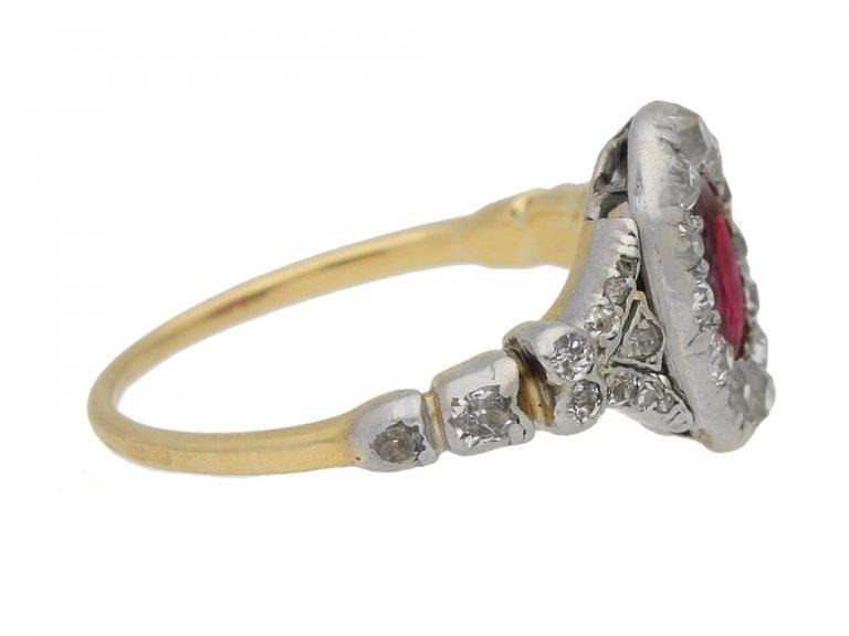 side view Antique ruby diamond cluster ring berganza hatton garden
