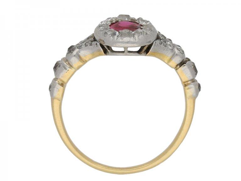 back view Antique ruby diamond cluster ring berganza hatton garden