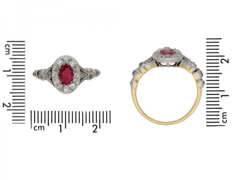 size view Antique ruby diamond cluster ring berganza hatton garden