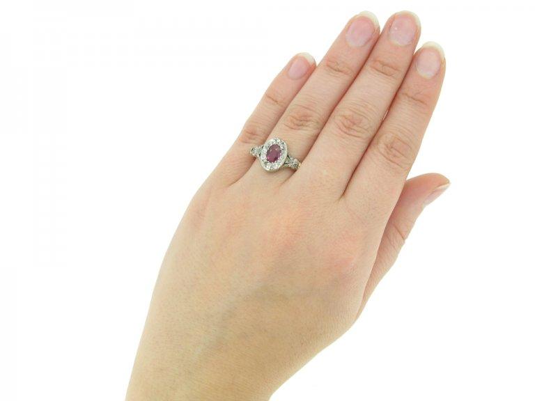 hand view Antique ruby diamond cluster ring berganza hatton garden
