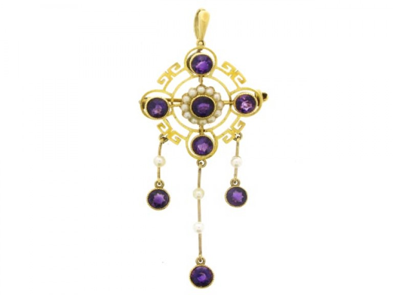front view Antique Amethyst and Pearl Pendant/Brooch.