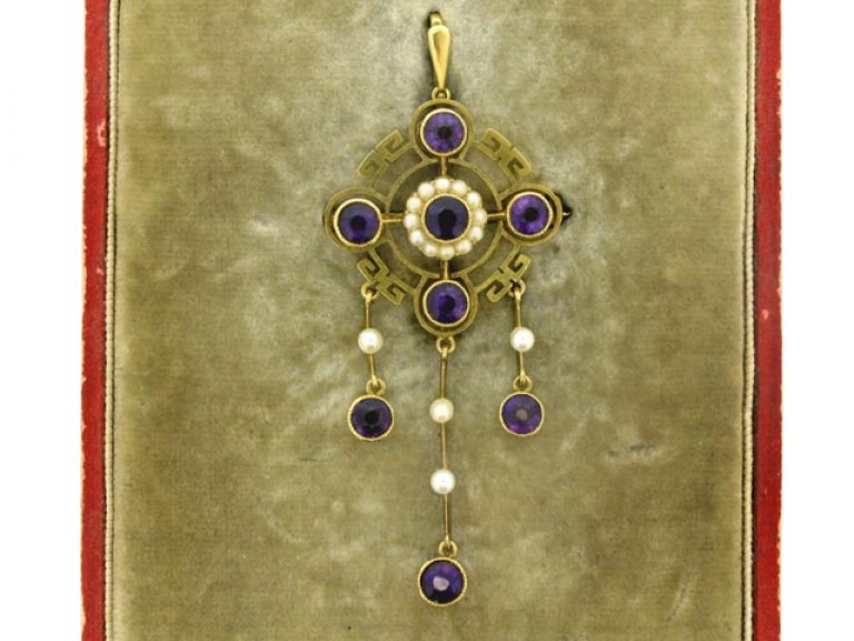 boxed view Antique Amethyst and Pearl Pendant/Brooch.