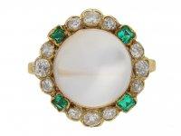 Moonstone diamond and emerald coronet cluster ring, circa 1890. berganza hatton garden
