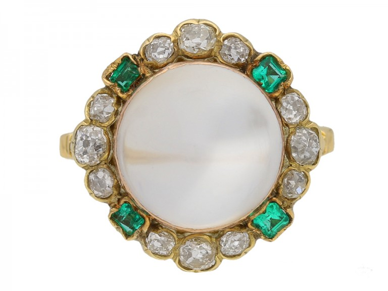Moonstone diamond and emerald coronet cluster ring, circa 1890. berganza hatton garden