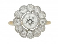 front view Antique diamond cluster ring, circa 1910.