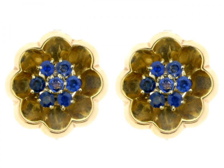 front view J. E. Caldwell sapphire cluster clip on earrings, circa 1940.