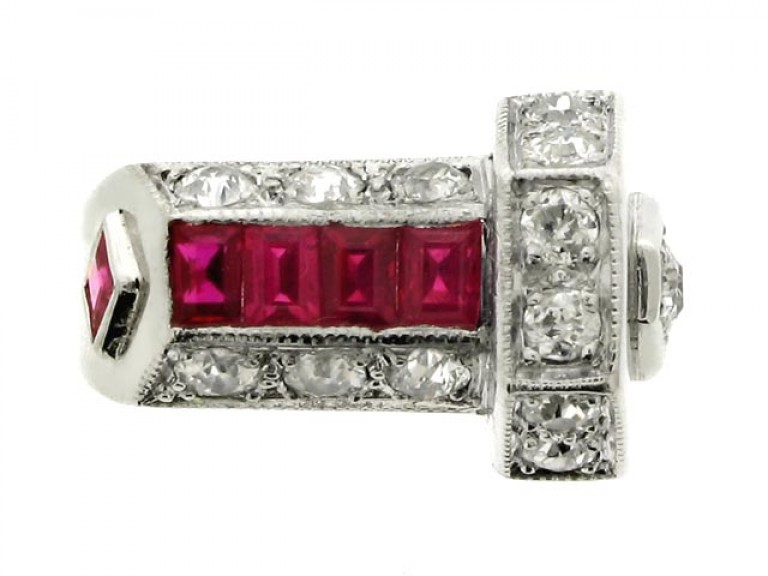 front view Art Deco ruby and diamond ring, circa 1935.