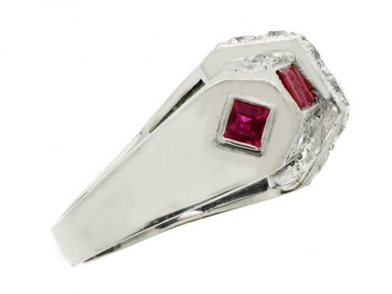 side view Art Deco ruby and diamond ring, circa 1935.