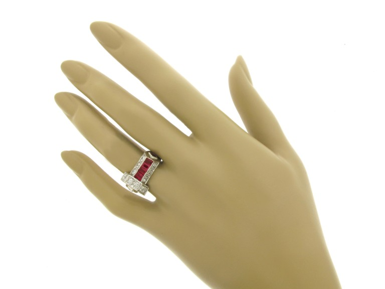 hand view Art Deco ruby and diamond ring, circa 1935.