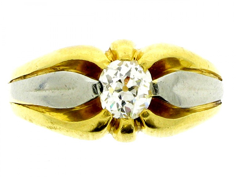 front view antique diamond set ring berganza hatton garden