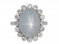 Star sapphire and diamond coronet cluster ring, circa 1920. berganza hatton garden