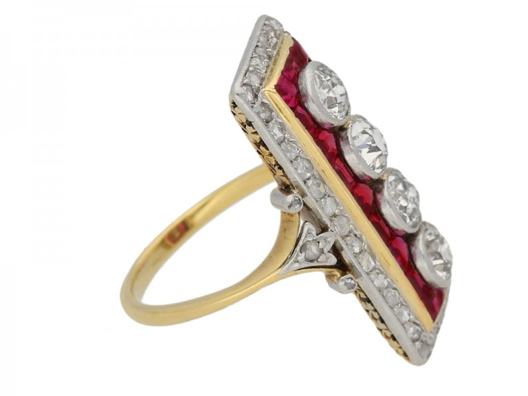 side view Ruby Diamond Ring berganza hatton garden