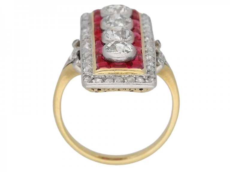 back view Ruby Diamond Ring berganza hatton garden
