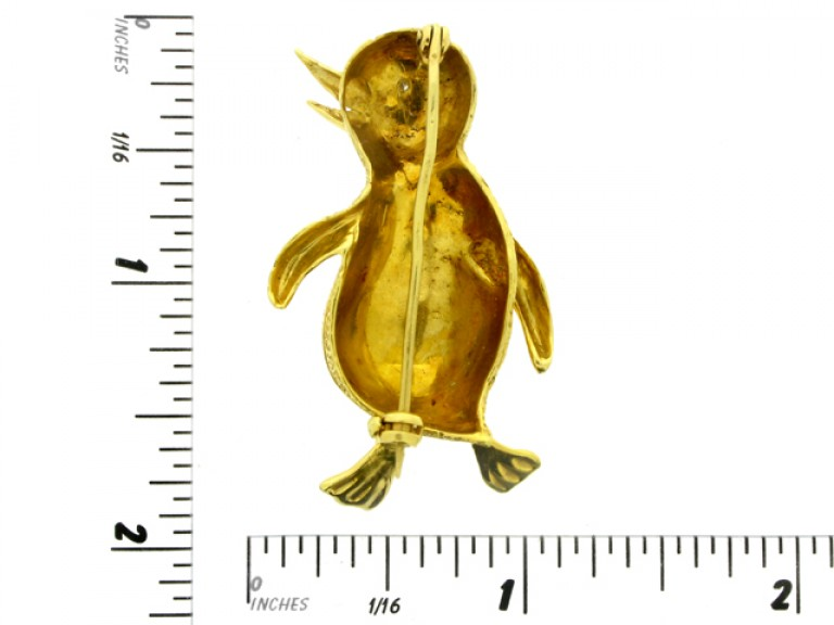 size view Diamond and Gold Penguin Brooch.