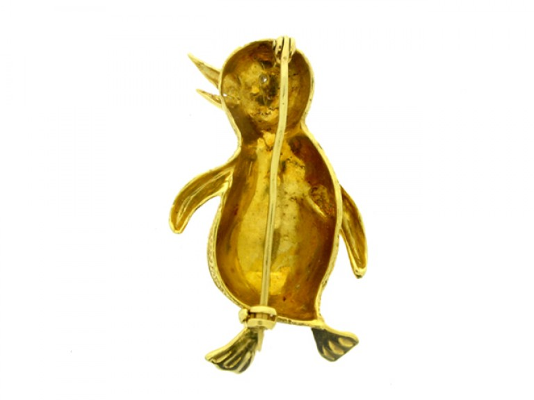 back view Diamond and Gold Penguin Brooch.