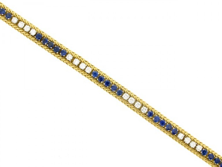 front view Oscar Heyman Brothers sapphire and diamond bracelet,