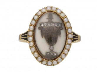 front view antique Diamond Pearl Mourning diamond ring hatton garden berganza