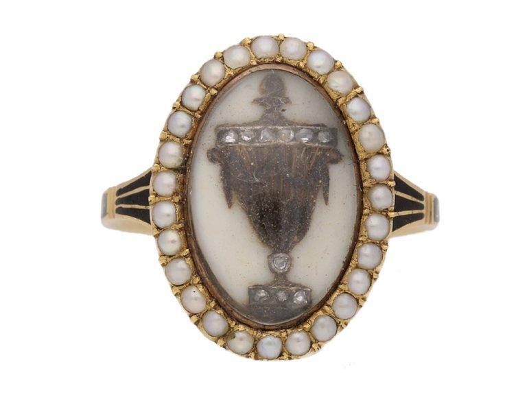 front view antique Diamond Pearl Mourning diamond ring hatton garden berganza
