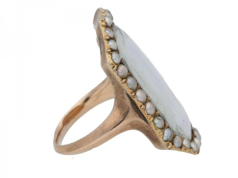 antique Diamond Pearl Mourning diamond ring hatton garden berganza