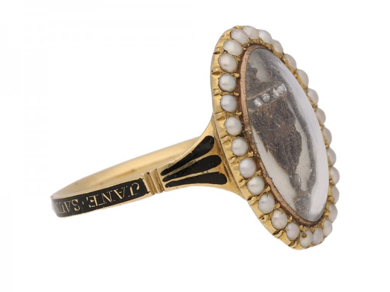 side view Antique diamond and pearl 'urn' memorial ring, circa 1780.