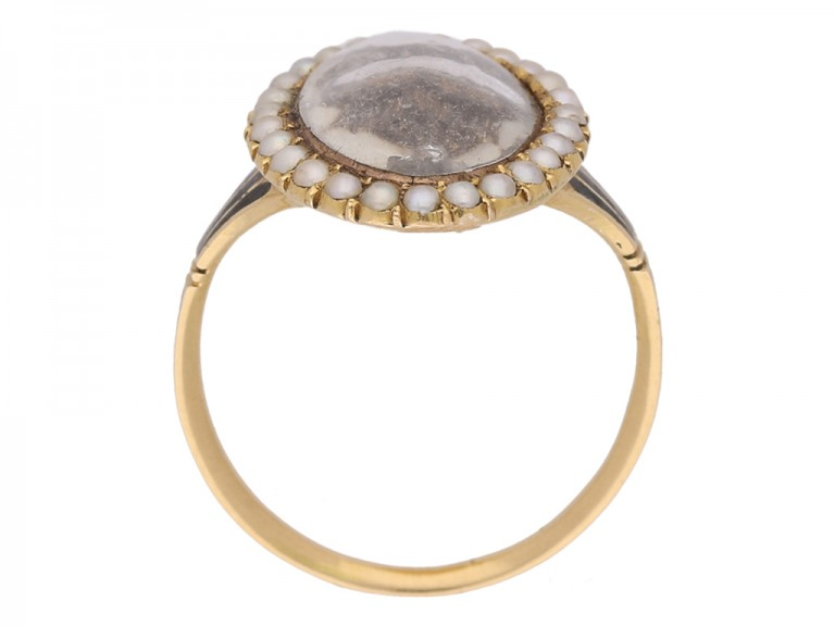 back view Antique diamond and pearl 'urn' memorial ring, circa 1780.