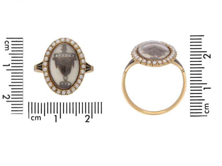 size view Antique diamond and pearl 'urn' memorial ring, circa 1780.