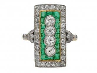 Edwardian emerald and diamond cluster ring, circa 1905. berganza hatton garden