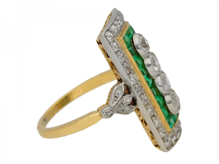 Edwardian emerald and diamond cluster ring, circa 1905. berganza hatton garden