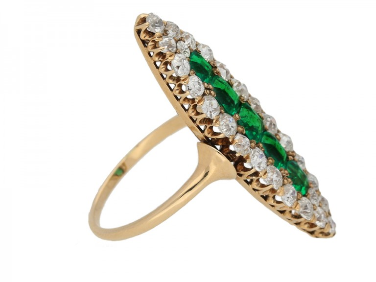 side view Antique emerald diamond ring berganza hatton garden