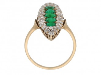 back view Antique emerald diamond ring berganza hatton garden