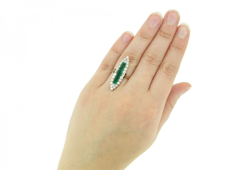 hand view Antique emerald diamond ring berganza hatton garden