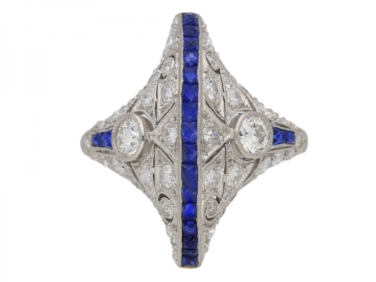 Calibré sapphire and diamond ring in platinum, circa 1935. berganza hatton garden