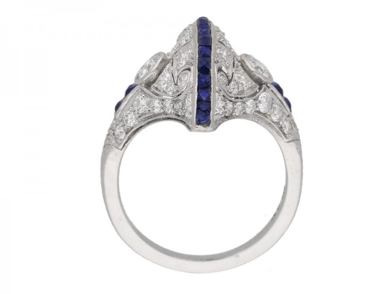 back view Calibré sapphire and diamond ring in platinum, circa 1935. berganza hatton garden