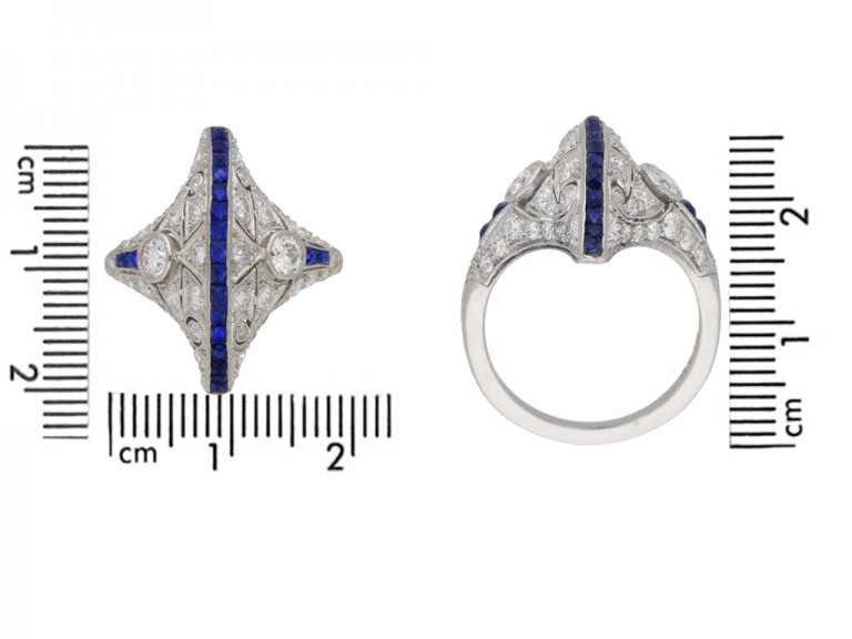 size view Calibré sapphire and diamond ring in platinum, circa 1935. berganza hatton garden