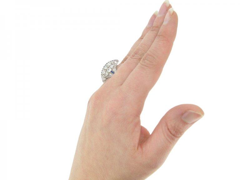 hand view Calibré sapphire and diamond ring in platinum, circa 1935. berganza hatton garden