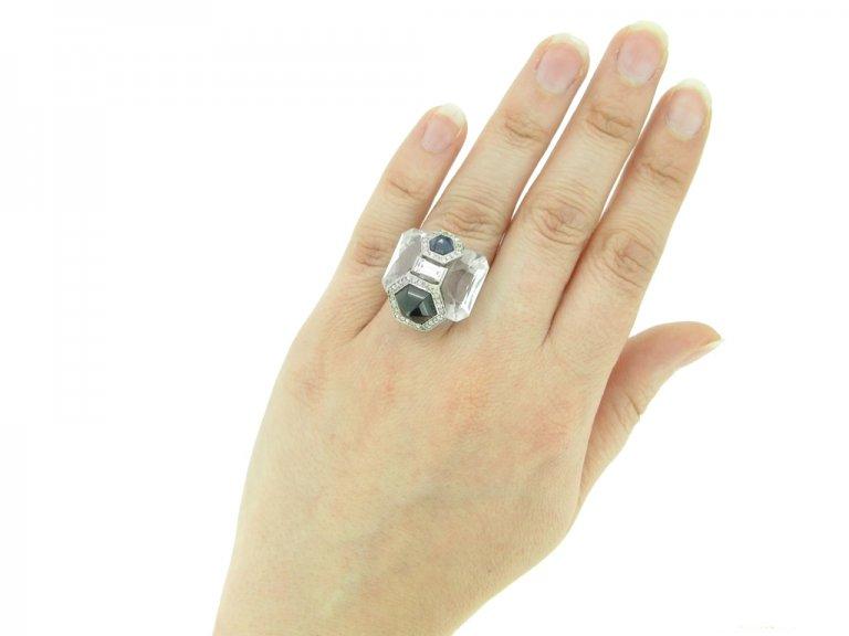 hand Seaman Schepps rock crystal diamond sapphire berganza hatton garden