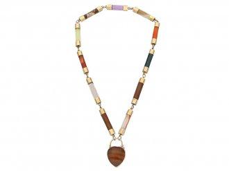 Victorian Scottish agate necklace padlock berganza hatton garden