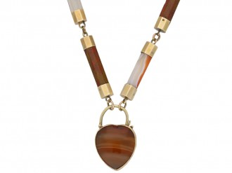 Victorian Scottish agate necklace padlock berganza hatton garden