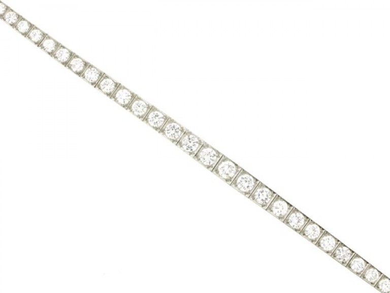front view Tapered diamond line bracelet, circa 1950.