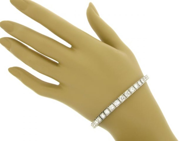 hand view Tapered diamond line bracelet, circa 1950.